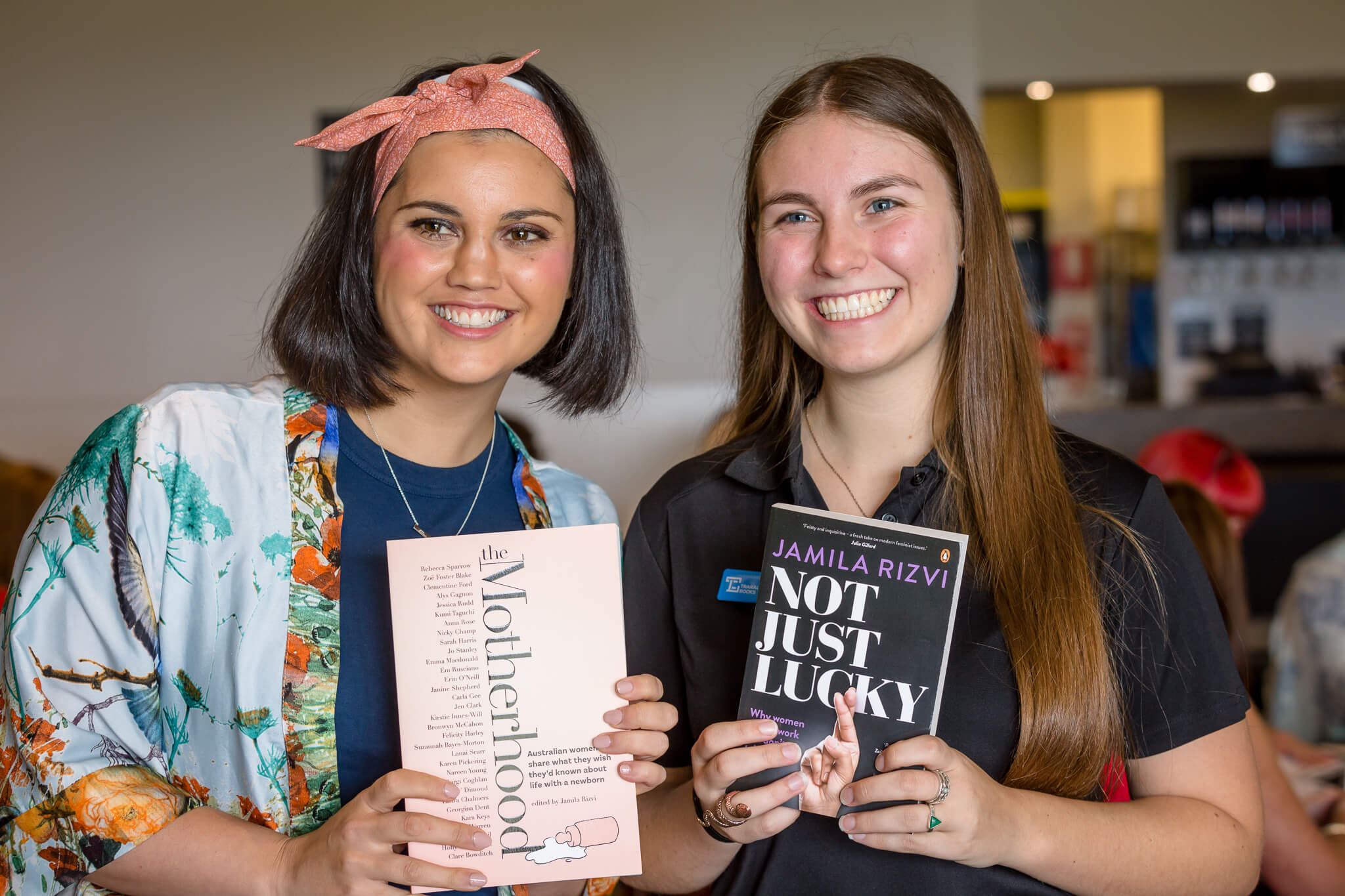 Jamila Rizvi with her books at LWIB event